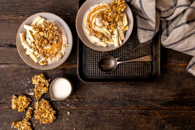 Peanut Butter And Banana Porridge With Sorghum Brittle Recipe