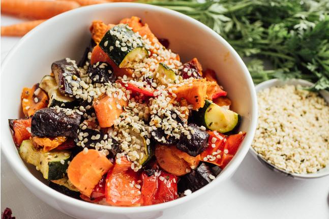 Roasted Vegetables & Hemp Seeds