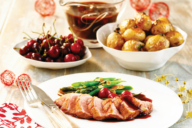 Festive Duck Breast With A Spiced Cherry Brandy Sauce
