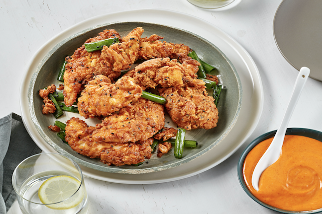 Southern Fried Tenders with Gochujang Hot Mayo Dipping Sauce