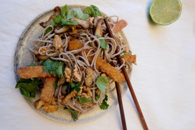 Shiitake Mushroom, Tempeh & Walnut Soba Noodle Salad With Lime & Coriander Dressing