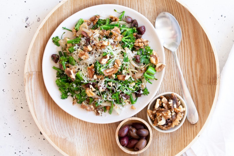 Broccoli Rabe With Olives, Walnuts & Parmesan Cheese Flatlay