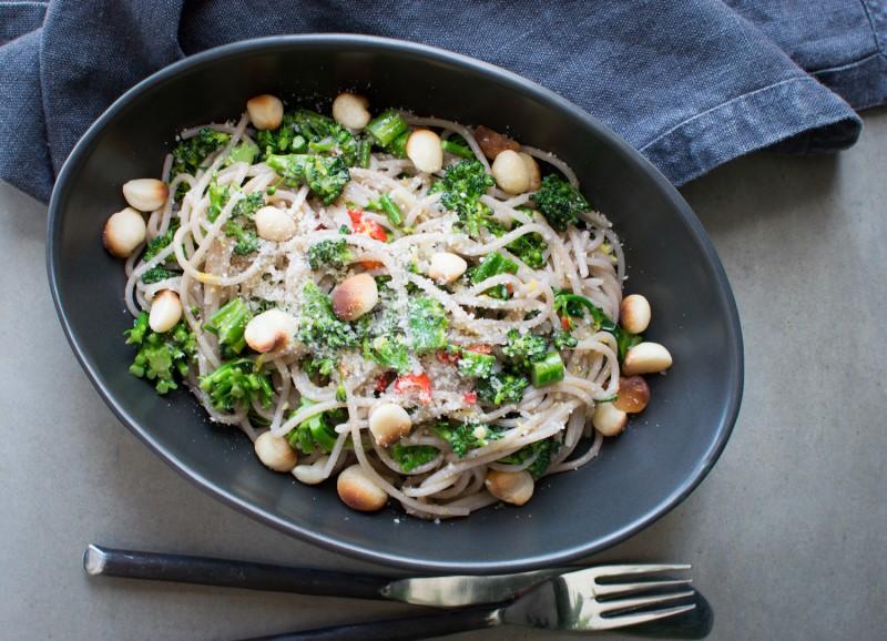 Broccoli Rabe, Macadamia & Chilli Spaghetti