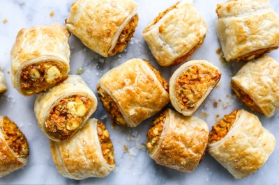 Carrot Chickpea Feta Sausage Rolls
