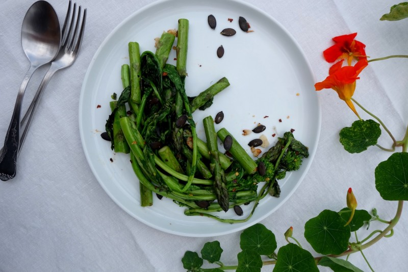 Simply Sauteed Broccoli Rabe And Asparagus
