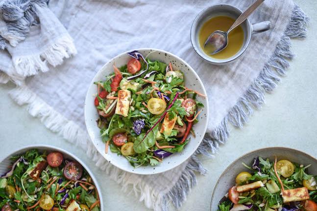 Rainbow Salad with Haloumi & Lemon Vinaigrette