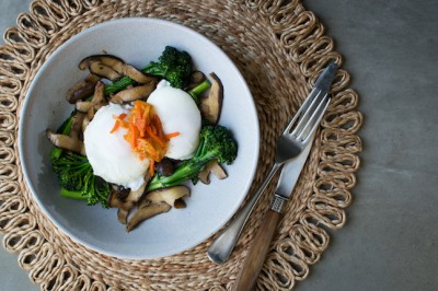 Broccoli Rabe & Shitake Stir Fry With Poached Eggs