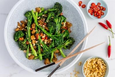 Broccolini With Tofu, Chilli & Peanuts