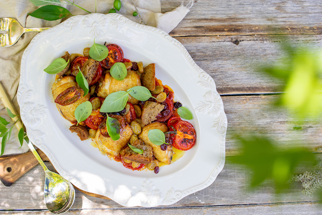 Baked thighs with heirloom tomatoes