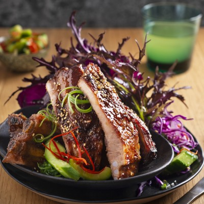 Sticky Pork Spare Ribs With Stones Ginger Wine Cucumber Pickle