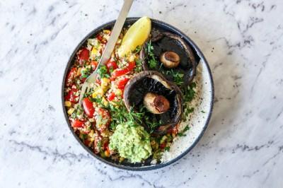 Grilled Mushroom, Quinoa Tabbouleh, Avocado & Cashew Cheese