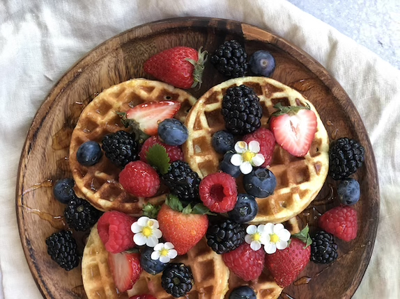 Healthy Gluten-free Waffles with Mixed Berries