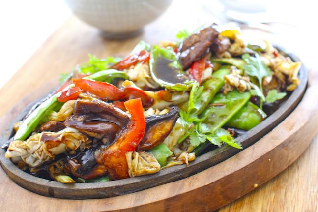 Stir-Fried Snow Peas, Cabbage & Mushrooms