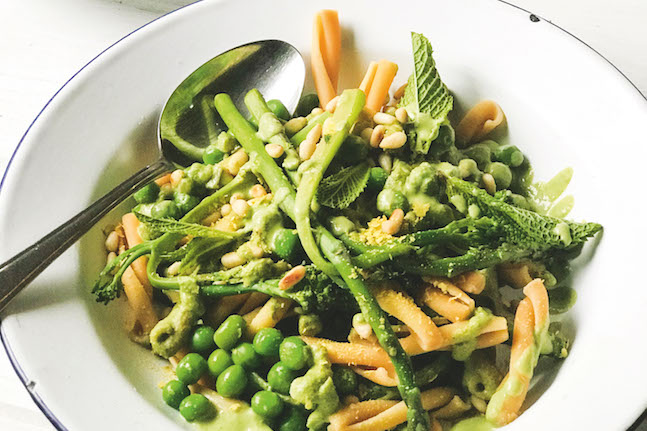Creamy Pea, Asparagus And Broccolini Pasta With Mint Pesto