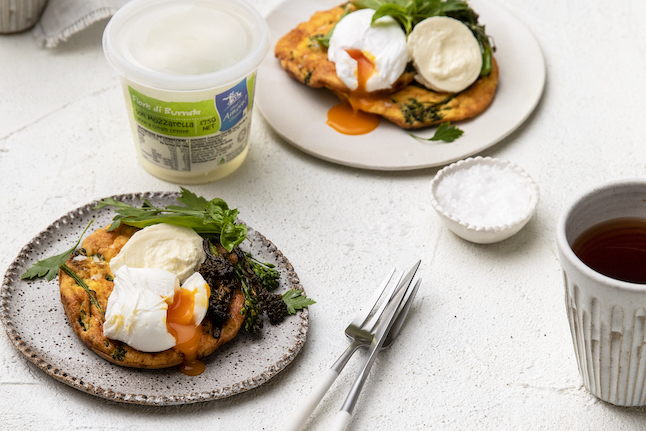 Broccolini Fritters With Burrata & Poached Egg