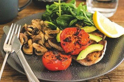 Mushroom, Tomato, Avocado And Greens On Sourdough Toast