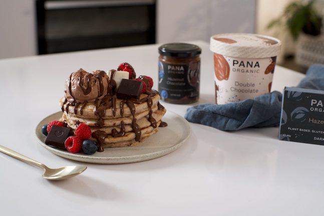 Plant-Based Pancakes with Hazelnut & Chocolate Sauce