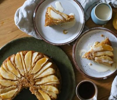 Caramelised Pear & Maple Upside-Down Cake