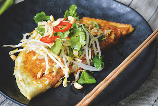 Spicy Asian Omelette with Sprout Salad