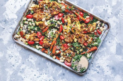 One-Pan Moroccan Spiced Cauliflower & Beans with Harissa Yoghurt