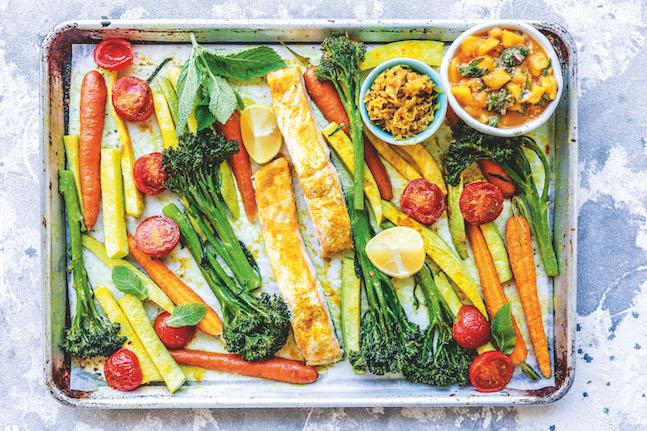 One-Pan Curried Salmon & Rainbow Veggies