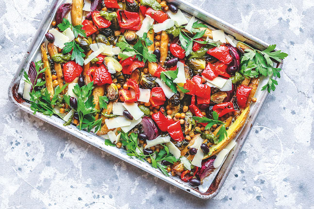 One-Pan Crunchy Chickpea Pesto Potato & Brussels Sprouts