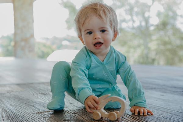 100% Organic Cotton Kimono Baby Sleepsuit With Feet In Sage Green