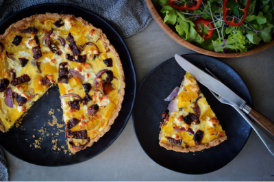 Pumpkin, Goats Cheese & Red Onion Quiche