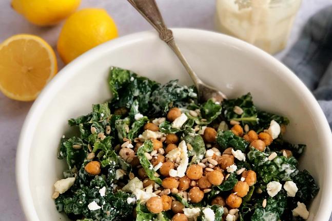 Crispy Chickpea Kale Salad Recipe