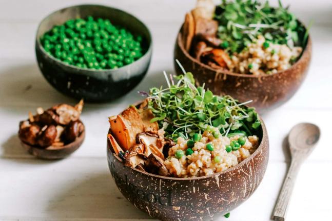 Mushroom & Pea Brown Rice Risotto Recipe