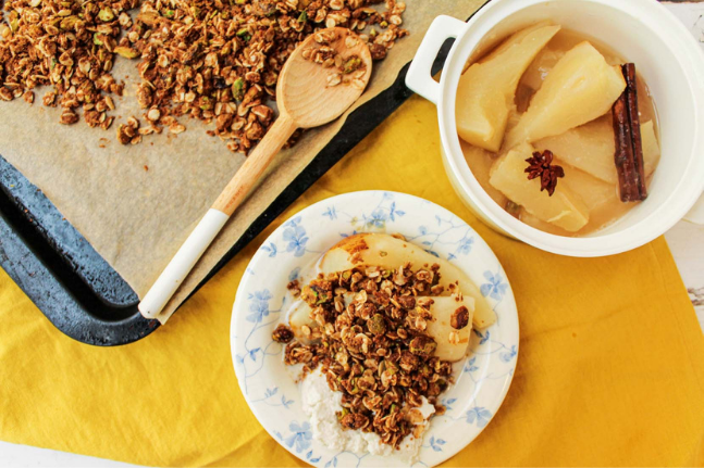 Aromatic Spiced Pears With Gluten Free Pistachio Crumble Recipe