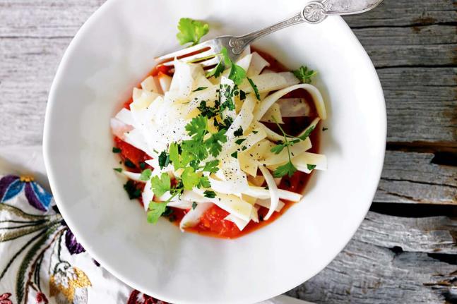 Celeriac Vegan Pasta with Herbed Tomato Sauce Recipe