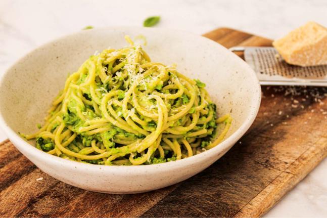 Lemony Pea Pesto Vegetarian Spaghetti Recipe
