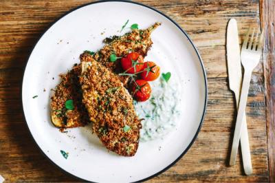 Eggplant Schnitzel With Vegan Cashew Tzatziki Recipe