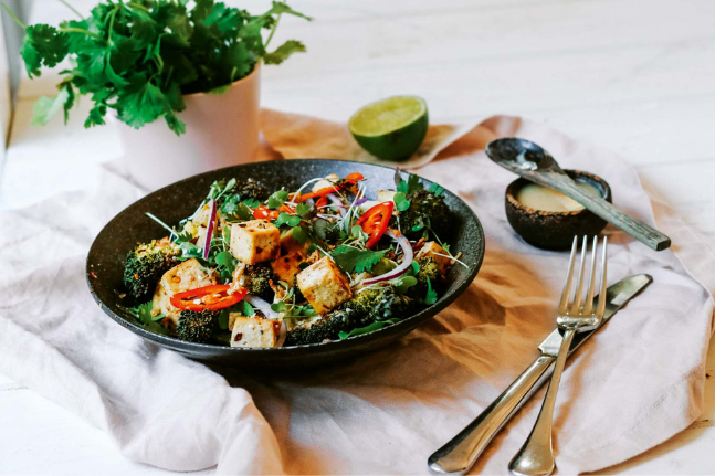 Baked Tofu, Broccoli & White Miso Dressing Summer Salad