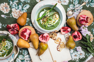 Asparagus & Fennel Soup With Cumin Spiced Lotus Chips Recipe