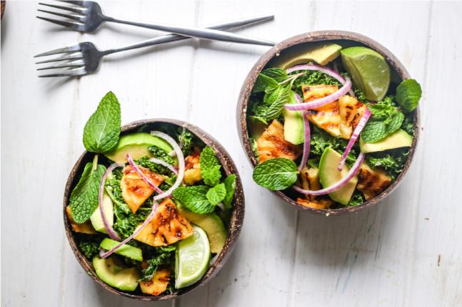 Grilled Pineapple, Avocado, Kale & Mint Salad Recipe