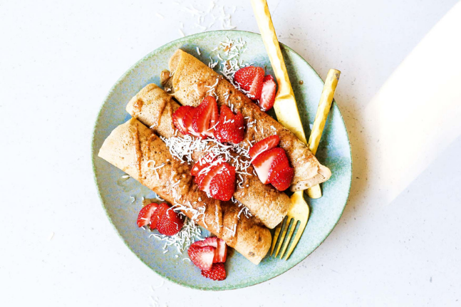 Plant Based Buckwheat Crepes With Strawberries