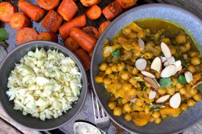 Chickpea & Roast Veggie Apricot Vegetarian Tagine With Cauliflower Rice