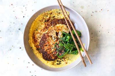 Sweet Corn Puree With Baked Cauliflower & Spinach