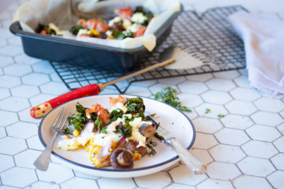 Corn, Kale & Mushroom Vegetarian Breakfast Bake Recipe