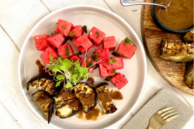 Jamaican Eggplant Jerk & Watermelon Salad Vegan Recipe