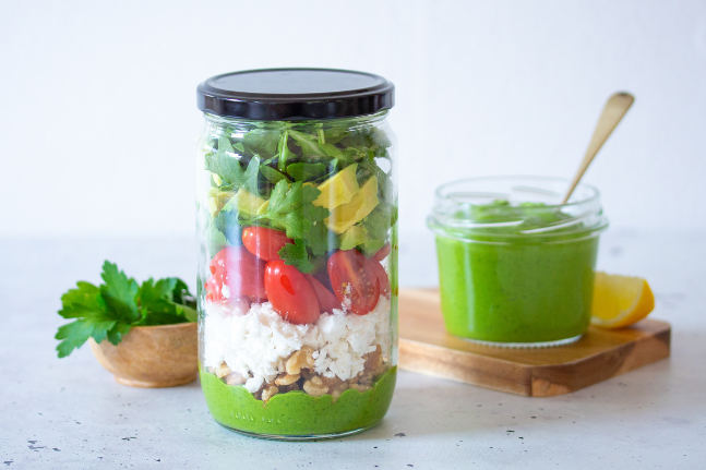 Quick Lunch Food Jars With Green Tahini Dressing