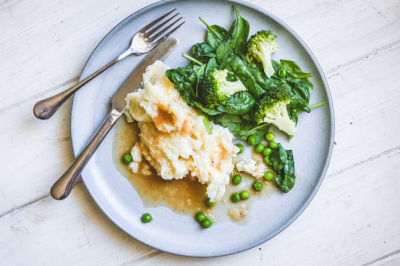 Mashed Potato & Greens With Onion Gravy Recipe