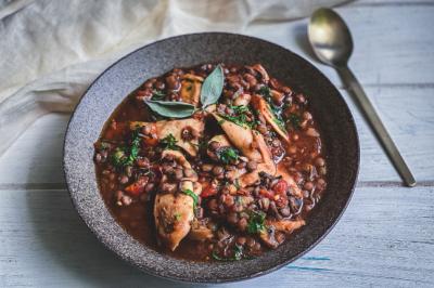 Lentil & Mushroom Vegan Stew recipe