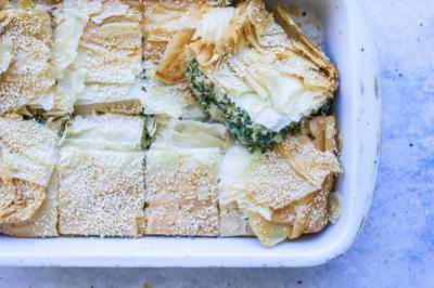 Broccoli, Zucchini & Spinach Vegetarian Filo Pie