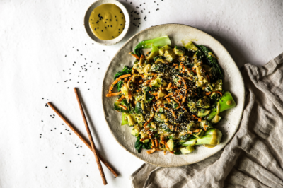 Plant-Based Sweet & Salty Grilled Bok Choy & Cucumber Salad