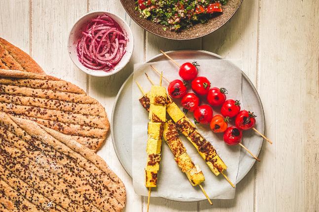 Persian Tofu Kebabs With Tabouli & Red Onion Salad Recipe