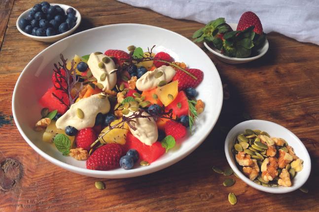 Berry, Pepita & Walnut Fruit Salad With Sweet Cashew Cream Recipe