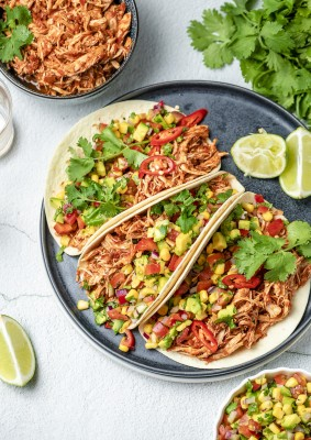 Chipotle Pulled Chicken with Avocado and Corn Salsa